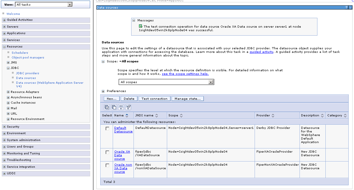 Creating the XADataSource for Oracle or DB2